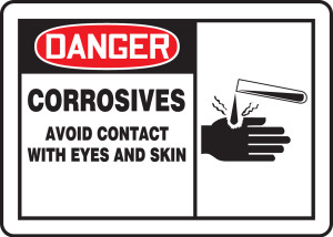 """OSHA Safety Sign - DANGER: Corrosives - Avoid Contact With Eyes And Skin, 10"""" x 14"""", Pack/10"""
