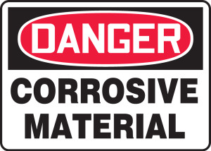 "OSHA Safety Sign - DANGER: Corrosive Material, 10"" x 14"", Pack/10"