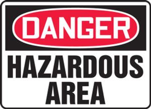 "OSHA Safety Sign - DANGER: Hazardous Area, 10"" x 14"", Pack/10"