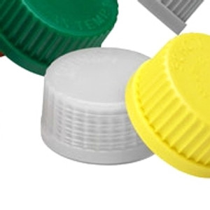 GL-45 Bottle Caps, Clear, Solid PFA with PTFE coating, case/5