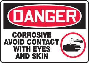 """OSHA Safety Sign - DANGER: Corrosive - Avoid Contact With Eyes And Skin, 10"""" x 14"""", Pack/10"""