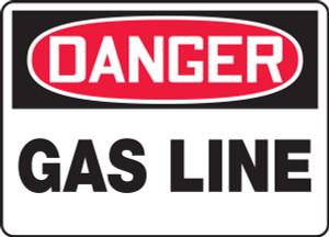 """OSHA Safety Sign - DANGER: Gas Line, 10"""" x 14"""", Pack/10"""