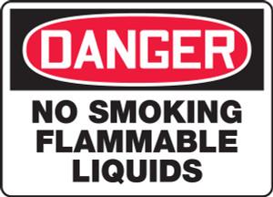 "OSHA Safety Sign - DANGER: No Smoking - Flammable Liquids, 10"" x 14"", Pack/10"