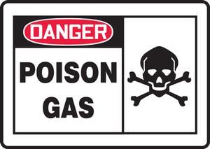 "OSHA Safety Sign - DANGER: Poison Gas, 10"" x 14"", Pack/10"