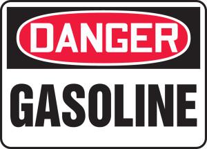 """OSHA Safety Sign - DANGER: Gasoline, 10"""" x 14"""", Pack/10"""