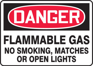 """OSHA Safety Sign - DANGER: Flammable Gas No Smoking, Matches Or Open Lights, 10"""" x 14"""", Pack/10"""