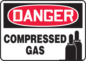 "OSHA Safety Sign - DANGER: Compressed Gas (Graphic), 10"" x 14"", Pack/10"