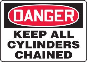 "OSHA Safety Sign - DANGER: Keep All Cylinders Chained, 10"" x 14"", Pack/10"