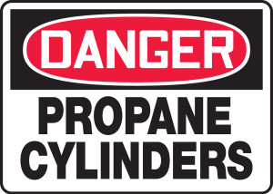 "OSHA Safety Sign - DANGER: Propane Cylinders, 10"" x 14"", Pack/10"