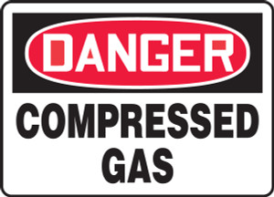 "OSHA Safety Sign - DANGER: Compressed Gas, 10"" x 14"", Pack/10"