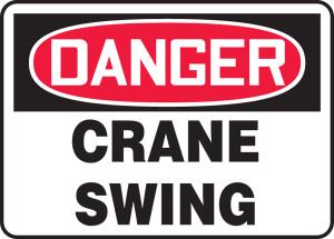 "OSHA Safety Sign - DANGER: Crane Swing, 10"" x 14"", Pack/10"