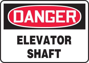 """OSHA Safety Sign - DANGER: Elevator Shaft, 10"""" x 14"""", Pack/10"""