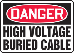 """OSHA Safety Sign - DANGER: High Voltage - Buried Cable, 10"""" x 14"""", Pack/10"""