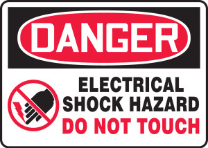"OSHA Safety Sign - DANGER: Electrical Shock Hazard - Do Not Touch, 10"" x 14"", Pack/10"