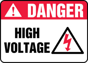 "ANSI Safety Sign - DANGER: High Voltage, 10"" x 14"", Pack/10"