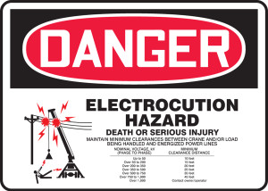 """OSHA Safety Sign - DANGER: Electrocution Hazard - Death or Serious Injury, 10"""" x 14"""", Pack/10"""