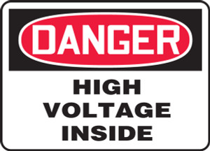 "OSHA Safety Sign - DANGER: High Voltage Inside, 10"" x 14"", Pack/10"