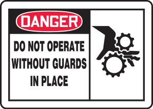 "OSHA Safety Sign - DANGER: Do Not Operate Without Guards In Place, 10"" x 14"", Pack/10"