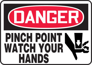 "OSHA Safety Sign - DANGER: Pinch Point - Watch Your Hands, 10"" x 14"", Pack/10"