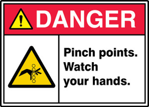 "ANSI ISO Safety Sign - DANGER: Pinch Points - Watch Your Hands., 10"" x 14"", Pack/10"