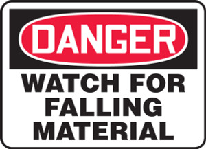 "OSHA Safety Sign - DANGER: Watch For Falling Material, 10"" x 14"", Pack/10"