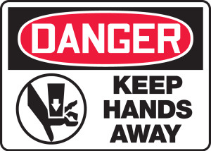 "OSHA Safety Sign - DANGER: Keep Hands Away, 10"" x 14"", Pack/10"