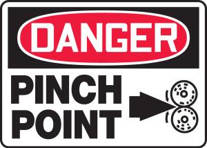 "OSHA Danger Safety Sign - Pinch Point, 10"" x 14"", Pack/10"