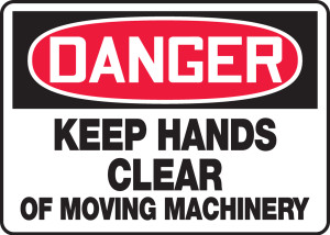 "OSHA Safety Sign - DANGER: Keep Hands Clear Of Moving Machinery, 10"" x 14"", Pack/10"