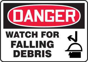 "OSHA Safety Sign - DANGER: Watch For Falling Debris, 10"" x 14"", Pack/10"