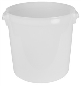 40 Quart Round Lab Storage Containers for Solids, Natural HDPE, case/6