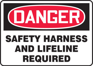 """OSHA Safety Sign - DANGER: Safety Harness And Lifeline Required, 10"""" x 14"""", Pack/10"""