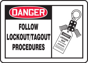 """OSHA Safety Sign - DANGER: Follow Lockout/Tagout Procedures Graphic, 10"""" x 14"""", Pack/10"""