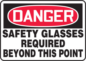 "OSHA Safety Sign - DANGER: Safety Glasses Required Beyond This Point, 10"" x 14"", Pack/10"