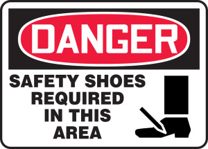 "OSHA Safety Sign - DANGER: Safety Shoes Required In This Area, 10"" x 14"", Pack/10"