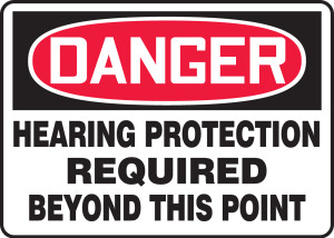 """OSHA Safety Sign - DANGER: Hearing Protection Required Beyond This Point, 10"""" x 14"""", Pack/10"""