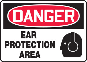 """OSHA Safety Sign - DANGER: Ear Protection Area, 10"""" x 14"""", Pack/10"""