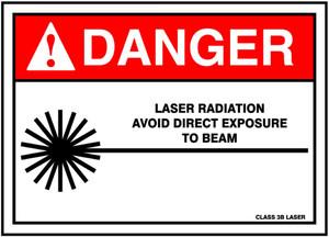 "ANSI Safety Sign - DANGER: Laser Radiation - Avoid Direct Exposure To Beam, 10"" x 14"", Pack/10"