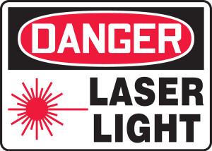 "OSHA Safety Sign - DANGER: Laser Light, 10"" x 14"", Pack/10"