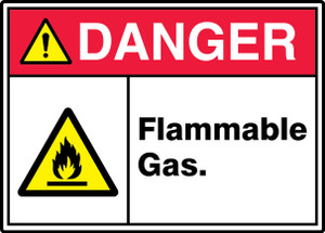 "ANSI ISO Safety Sign - DANGER: Flammable Gas., 10"" x 14"", Pack/10"