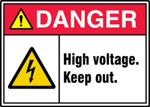 """ANSI ISO Safety Sign - DANGER: High Voltage. Keep Out., 10"""" x 14"""", Pack/10"""