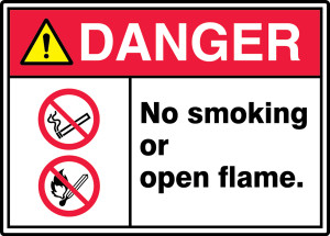 "ANSI ISO Safety Sign - DANGER: No Smoking Or Open Flame., 10"" x 14"", Pack/10"