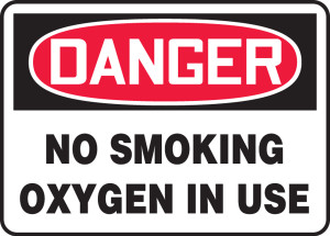 OSHA Sign - DANGER: No Smoking - Oxygen, 10 x 14