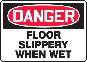 """OSHA Safety Sign - DANGER: Floor Slippery When Wet, 10"""" x 14"""", Pack/10"""