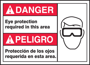 "BILINGUAL ANSI SIGN - EYE PROTECTION, 10"" x 14"", Pack/10"