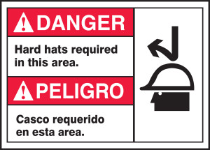 "BILINGUAL ANSI SIGN - HARD HAT, 10"" x 14"", Pack/10"