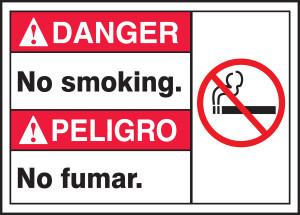 "Spanish (Mexican) Bilingual ANSI Danger Visual Alert Safety Sign: No Smoking, 10"" x 14"", Pack/10"