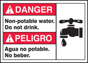 "Spanish (Mexican) Bilingual ANSI Danger Visual Alert Safety Sign: Non-Potable Water - Do Not Drink, 10"" x 14"", Pack/10"