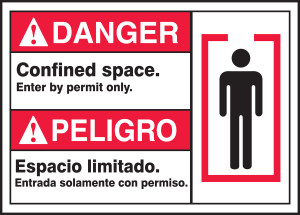 "BILINGUAL ANSI SIGN - CONFINED SPACE, 10"" x 14"", Pack/10"