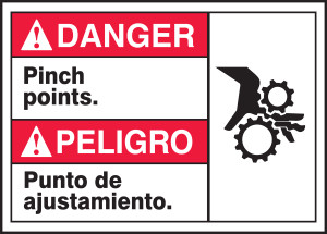 "Spanish (Mexican) Bilingual ANSI Danger Visual Alert Safety Sign: Pinch Points, 10"" x 14"", Pack/10"