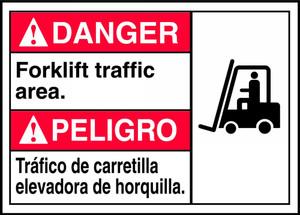 """Bilingual ANSI Safety Sign - DANGER: Forklift Traffic Area, 10"""" x 14"""", Pack/10"""